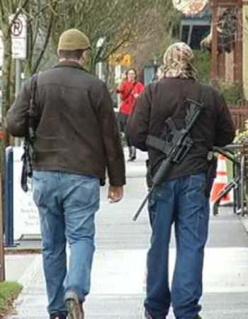 Men with Assault Rifles Walk through Portland to 'Educate' Public
