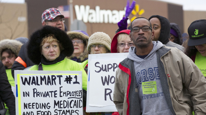 Protesters demonstrate outside a Walmart store in Chicago