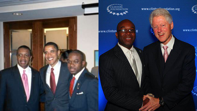 Marco McMillan pictured with Barack Obama (left) and Bill Clinton (right).