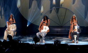 Musical group Destiny's Child, Michelle Williams, Kelly Rowland and Beyonce Knowles perform onstage with Magic Johnson, Nelly and Terrence Howard onstage at the BET Awards 05 at the Kodak Theatre on June 28, 2005 in Hollywood, California.  (Photo by Kevin Winter/Getty Images)