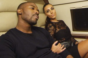 """Ray J. with Kim Kardashian look-a-like in the """"I Hit It First"""" video."""