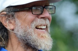 In this Aug. 26, 2013, photo is Craig Cobb, 61, in Leith, N.D. Cobb, 61, a self-described white supremacist, has purchased about a dozen lots in Leith and over the past year he has invited fellow white supremacists to move there and help him to transform the town of 16 people into a white enclave. No one has come, but the community is mobilizing to fight out of fear that Cobb could succeed, and the mayor has vowed to do whatever it takes to ensure Cobb's dream remains just that. (AP Photo/Kevin Cederstrom)
