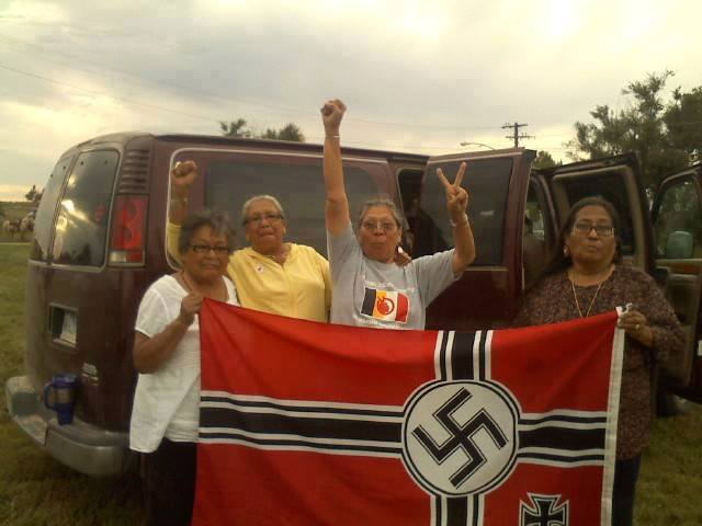 Lakota and Dakota grandmothers captured the Nazi flag flying over Leith, ND and later burned it. (Photo by Sarah Olowan Martinez)