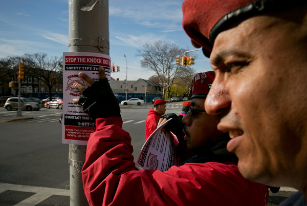 The Guardian Angels, an anti-crime group, posted warnings in Brooklyn this week about the Knockout Game, in which teenagers try to knock a stranger out with one punch. (Todd Heisler/The New York Times)