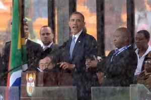 Barack Obama delivers a speech during the memorial service for Nelson Mandela at Soccer City Stadium in Johannesburg on December 10, 2013 (AFP, Pedro Ugarte)