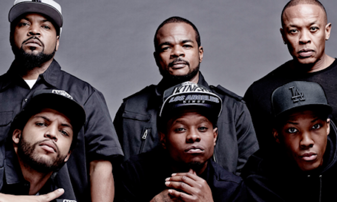 Director F. Gary Gray (top center) pictured with cast of Straight Outta Compton